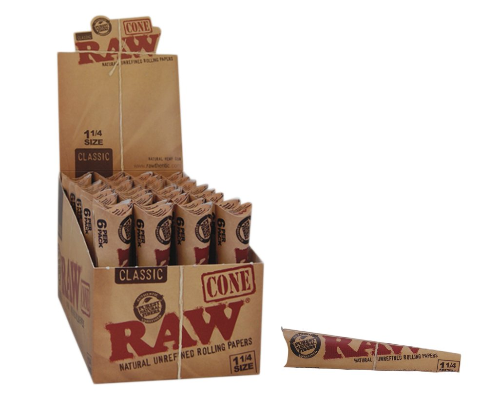 Raw Pre-Rolled Cones 1 1/4 Size 6-pack