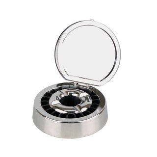 Ashtray with extinguisher insert & lid - chrome