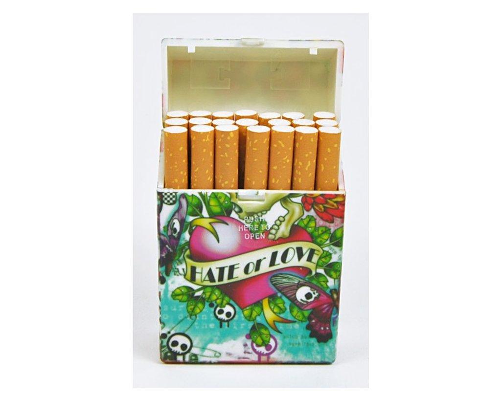 21 Zigaretten Kunststoff  Tattoo-Motive ZB023-3  Zigarettenbox Etui ca