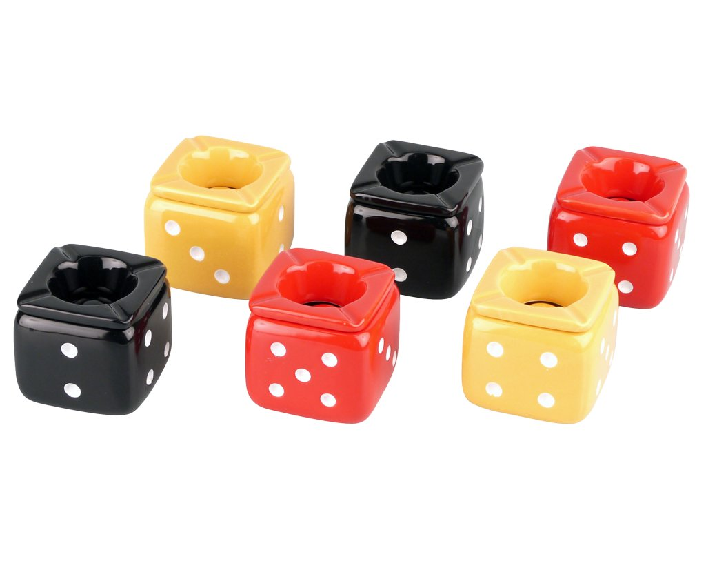Windproof Ashtray ceramic Cube 8cm - different Colours