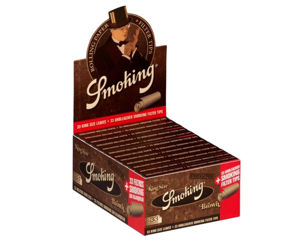 Smoking Papers King Size Brown + Tips - 1 Box