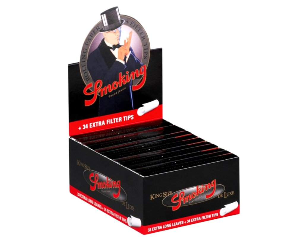 Smoking Papers King Size Deluxe Black + Tips - 3 Boxen